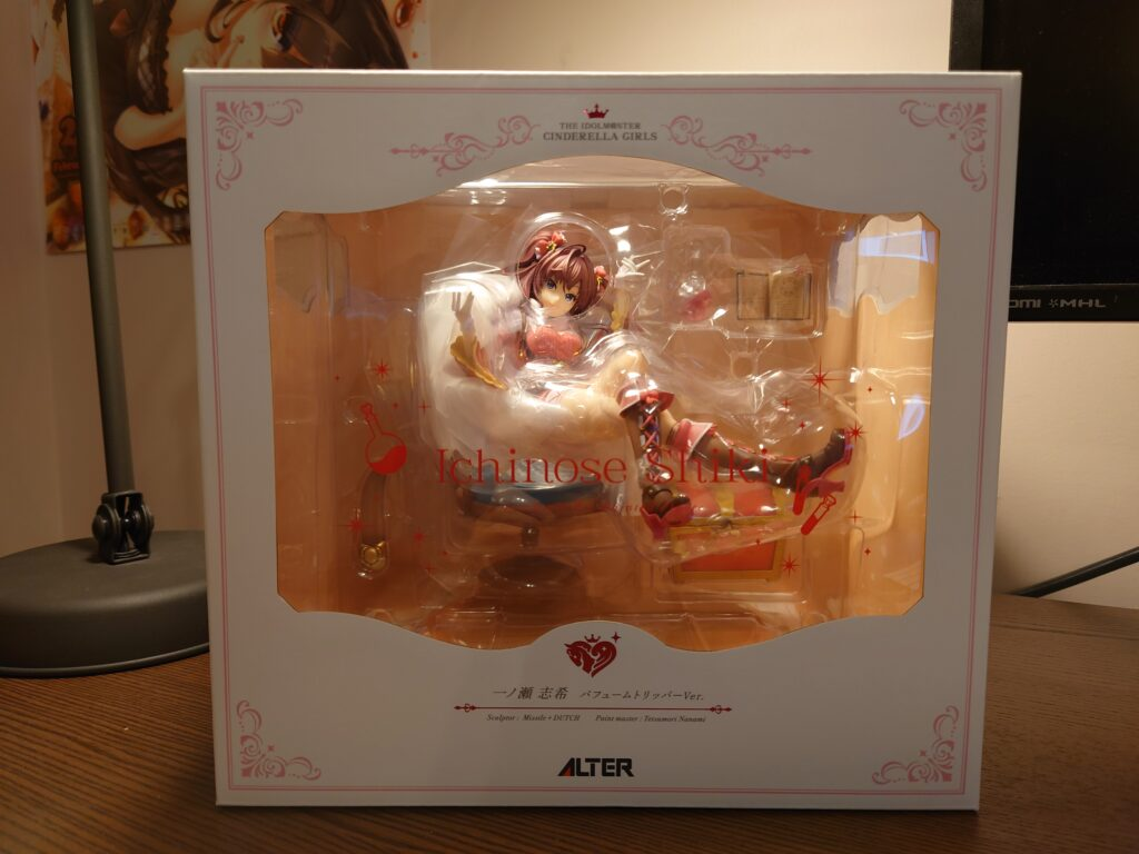 ALTER's Ichinose Shiki figure in box, front view.